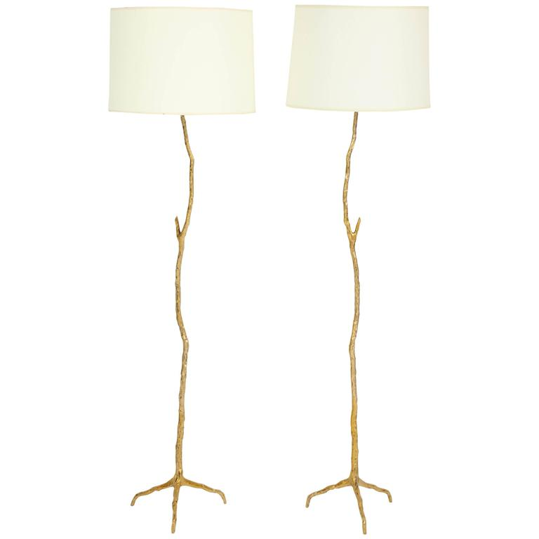 "Pair of Bronze Maison Arlus ""Twig"" Floor Lamps 1"