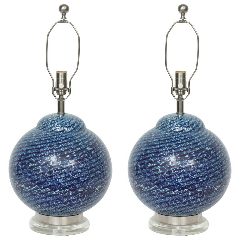 Barovier Midnight Blue Murano Glass Table Lamps For Sale