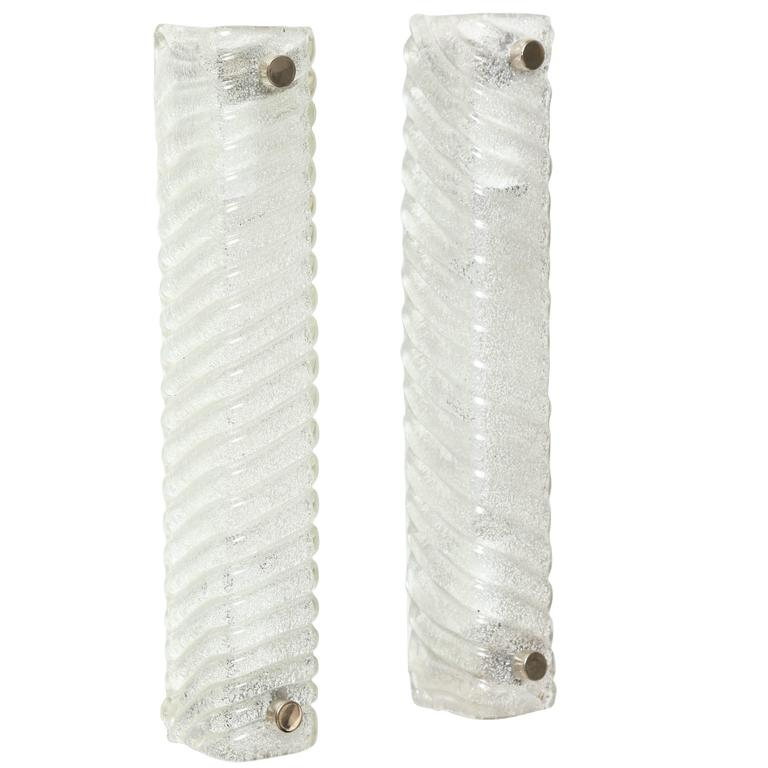 Murano Swirled Glass Rectangular Sconces 1