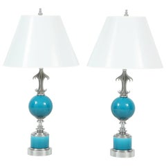 Pair of Blue Ceramic and Nickel-Plated Metal Table Lamps