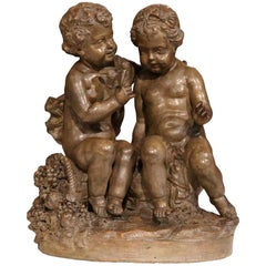 19th Century French Patinated Terracotta Sculpture with Cherubs Grapes and Bird