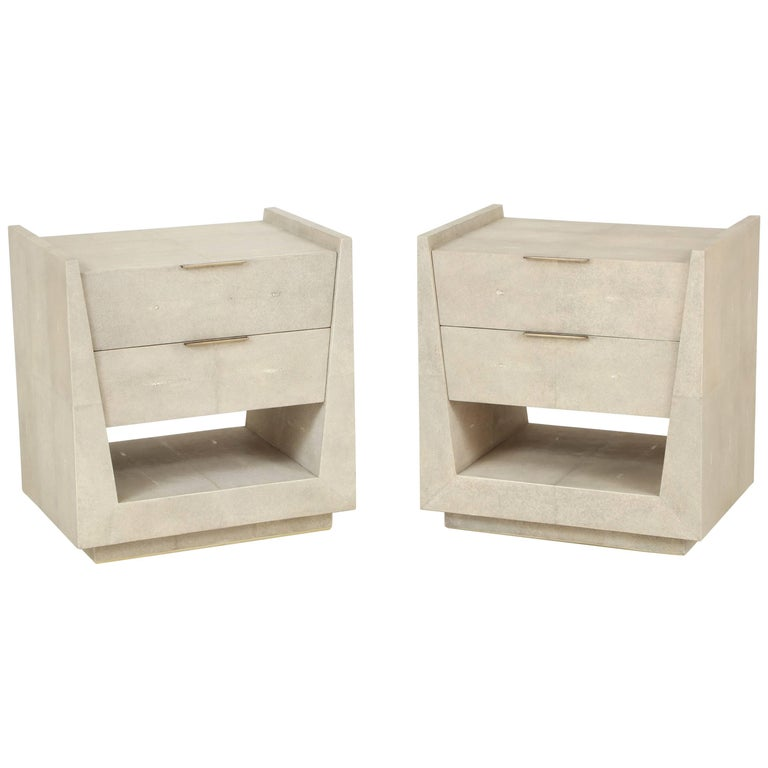 Shagreen Side Tables or Nightstands For Sale