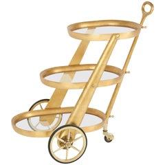 Bar Cart by Aldo Tura, Gold Leaf, Italy, circa 1950
