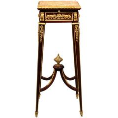 Late 19th Century Gilt Bronze-Mounted Marble-Top Pedestal
