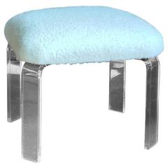 Lucite Ottoman with Natural White Alpaca Boucle Upholstery