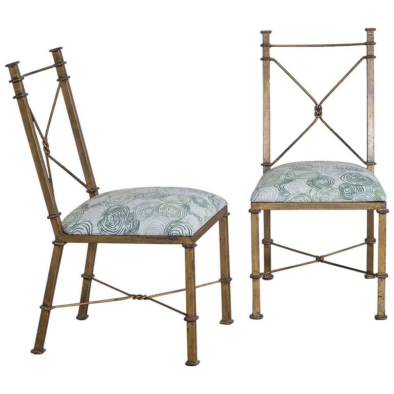 Pair of Vintage French Neoclassical Gilded Metal Chairs, circa 1940