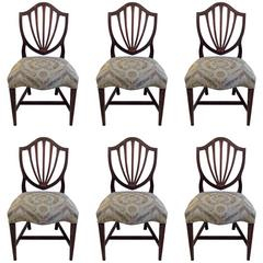 Set of Six Hepplewhite Shield Back Dining Chairs