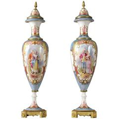Pair of Late 19th Century Bronze-Mounted Sèvres Style Iridescent Vases
