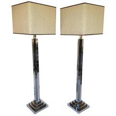 Pair of Floor Lamps by Willy Rizzo for Lumica, Italy, 1970