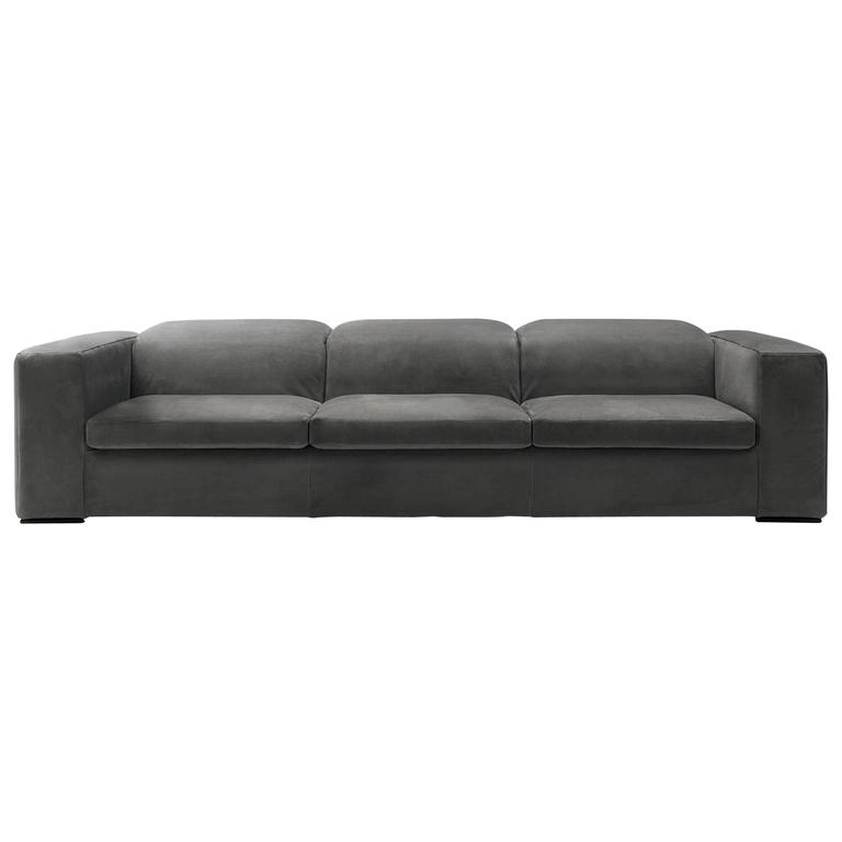 Modern Italian Sectional Sofa with Reclining Back Cushions, Made in Italy