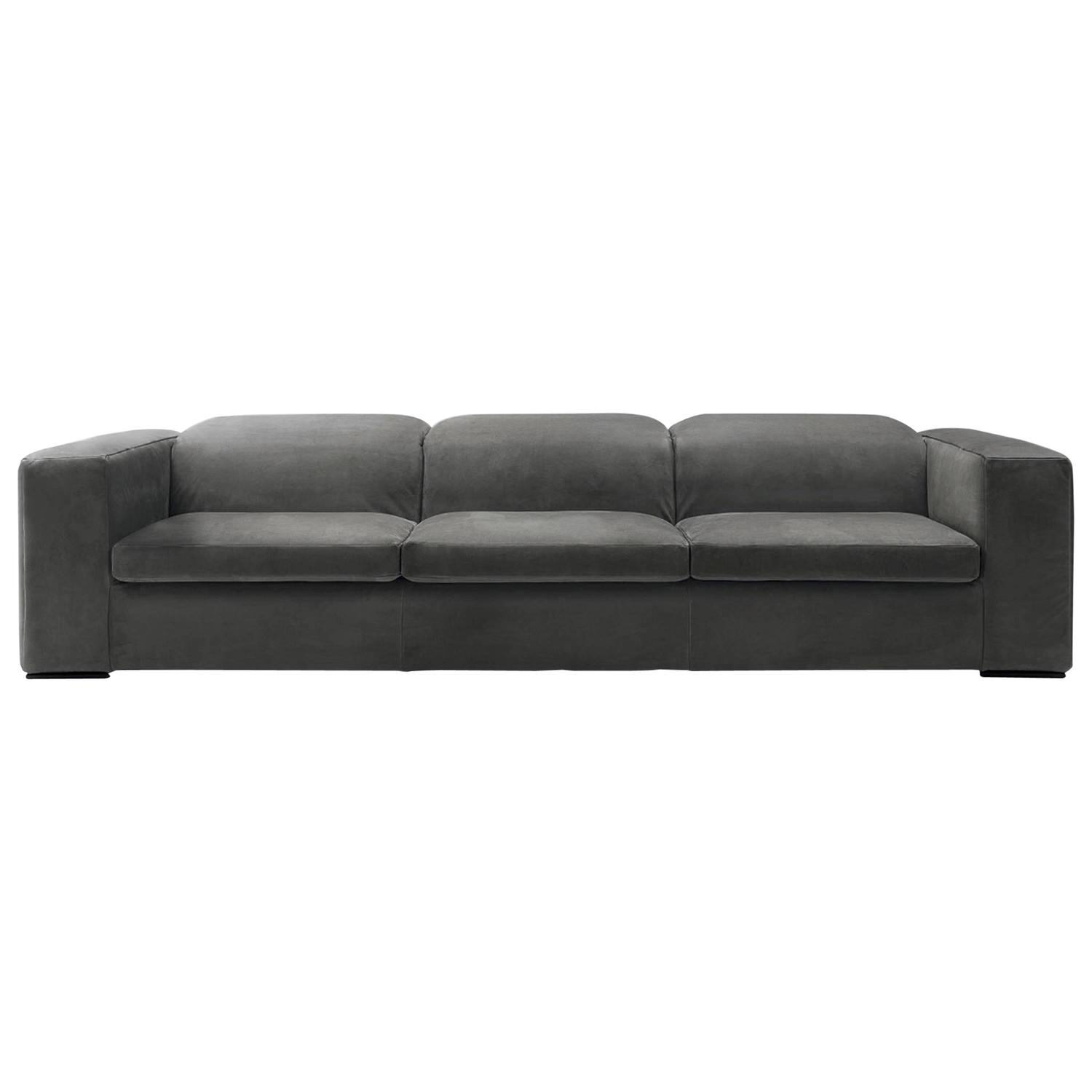 Modern Italian Sectional Sofa With Reclining Back Cushions