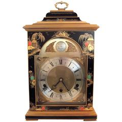 Hand Painted Chinioserie English Bracket Clock by Elliott of London