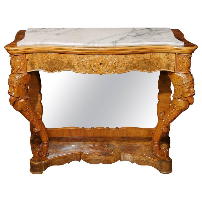 French Connection Gunmetal Coffee Table: Antique French Maple Console Table Carved Base, Circa 1840