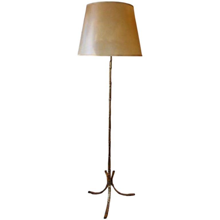 French Mid-Century Modern Gilt Iron Faux Bamboo Floor Lamp by Maison Baguès 1940