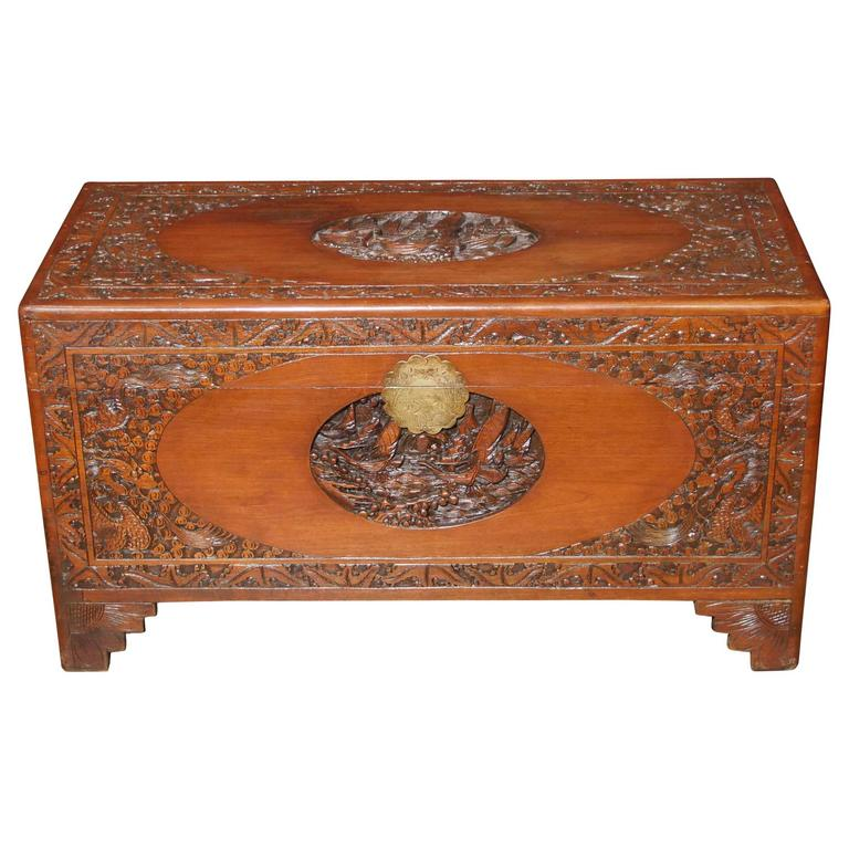 Antique Chinese Carved Camphor Wood Chest Luggage Trunk