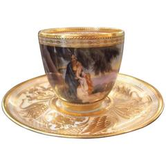 Hand-Painted Cabinet Piece Cup and Saucer by Ambrosius Lamm