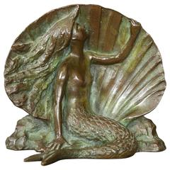 Figural Bronze Bookend by Nellie Louise Thompson, Gorham Foundry