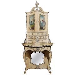 Antique Florentine Italian Painted Cabinet Bureau, first half 20th century