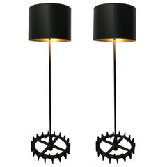 Pair of Industrial Iron Gear Floor Lamps