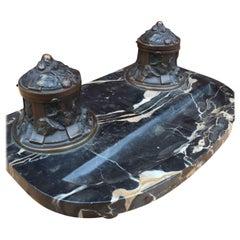 Rare Andre Villien Paris Art Nouveau quality Bronze & Marble Desk Inkwell Stand