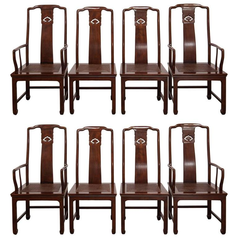 Set Of Four Chinese Ming Dining Chairs By Henredon For Sale