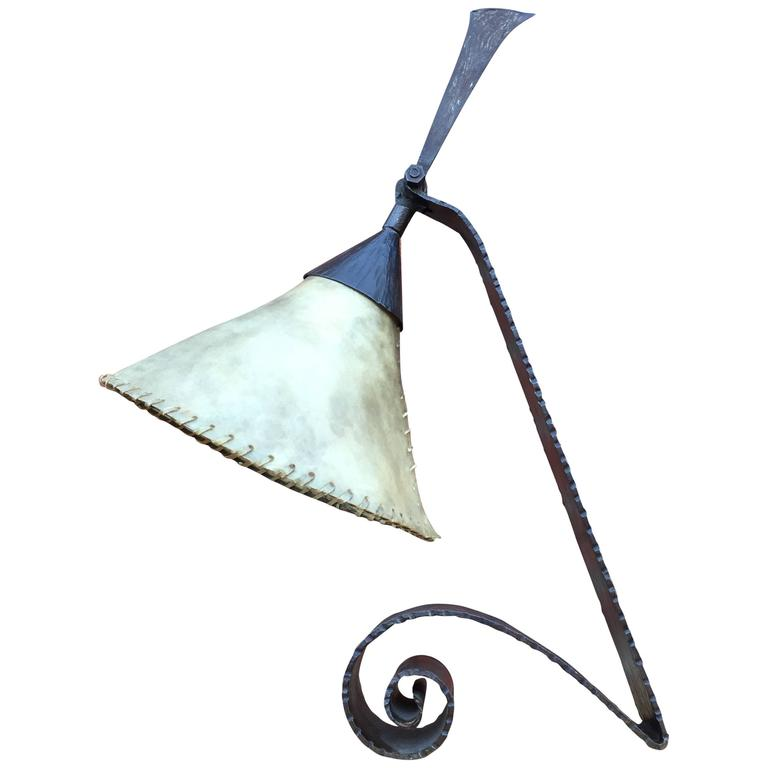 Arts & Crafts Wrought Iron Desk Lamp Handmade and Very Stylish, circa 1920 For Sale