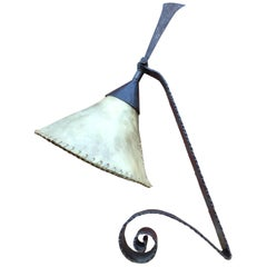 Arts & Crafts Wrought Iron Desk Lamp Handmade and Very Stylish, circa 1920
