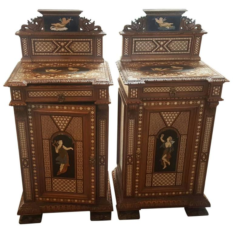 Pair of 19th Century Italian Nightstands with Tortoise Foot and Angel Motif 1