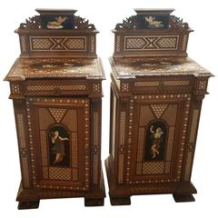 Pair of 19th Century Italian Nightstands with Tortoise Foot and Angel Motif