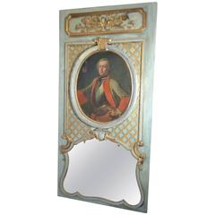19th Century Parcel-Gilt and Painted Trumeau Mirror and Portrait of Charles I