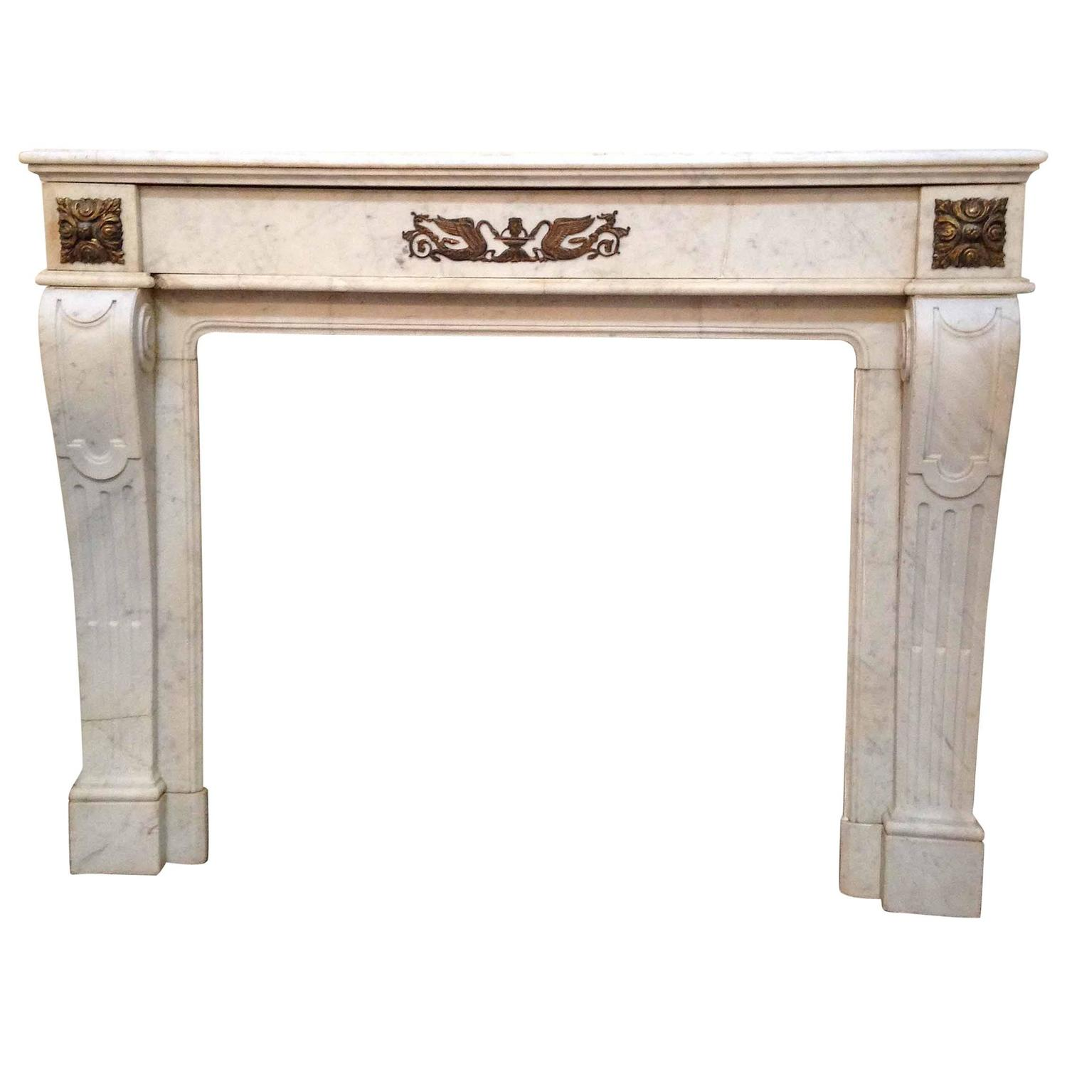 Carrara marble mantel for sale at 1stdibs for Marble mantels for sale