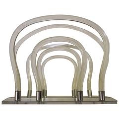 Dorothy Thorpe Chrome Mirror Lucite Magazine Rack