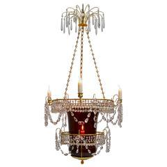 Russian Empire Rubyglass Lantern Chandelier, 19th Century