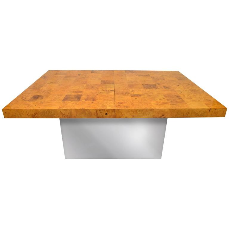 Milo Baughman Burl Wood and Stainless Expanding Dining Table For Sale