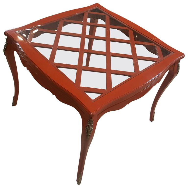 French Game Table with Red Lacquer and Glass Top For Sale