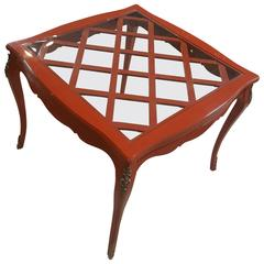 French Game Table with Red Lacquer and Glass Top