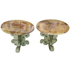 Midcentury Low Lacquered Tables with Chinese Inspirational Motifs with Onyx Tops