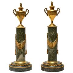 Pair of Gustavian Marble and Gilt Bronze Cassolettes, 19th Century