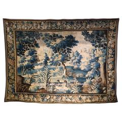 "18th Century French ""Verdure"" Aubusson Tapestry with Ducks Pond and Trees"