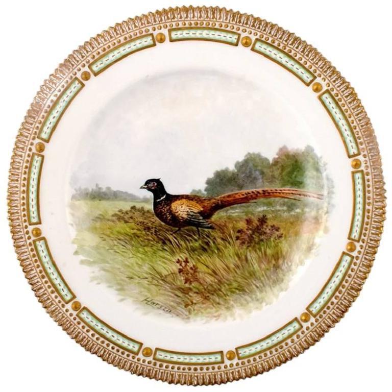 Royal Copenhagen Flora Danica / Fauna Danica Dinner Plate with a Pheasant For Sale