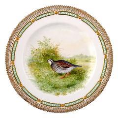 Royal Copenhagen Flora Danica / Fauna Danica Dinner Plate with a Bird