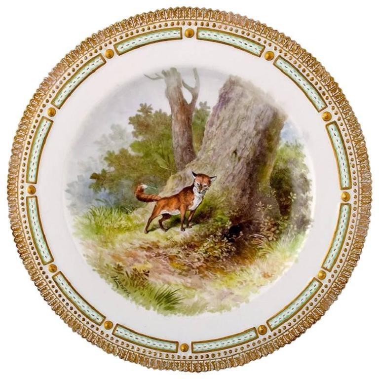 Royal Copenhagen Flora Danica / Fauna Danica Dinner Plate with a Fox For Sale
