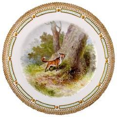 Royal Copenhagen Flora Danica / Fauna Danica Dinner Plate with a Fox