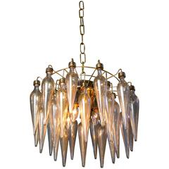 Gold Murano Avventurina Blown Glass Semi Flush Pendant, circa 1960