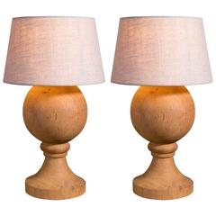 Pair of Belgian Bleached Oak Table Lamps with Shades