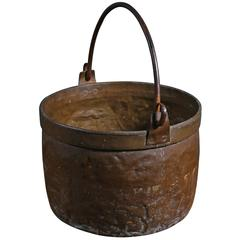 Large Copper Pot with Iron Handle from France, circa 1890