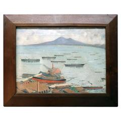 Oil on Canvas China Trade Style Painting Shipbuilding Bay of Naples, circa 1890