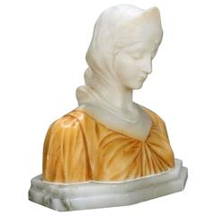 19th C Italian Classical Carved Alabaster Bust  Beatrice, Dante's Divina Comedia