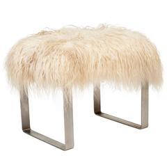 Milo Baughman Stool with Mongolian Sheepskin, circa 1970s