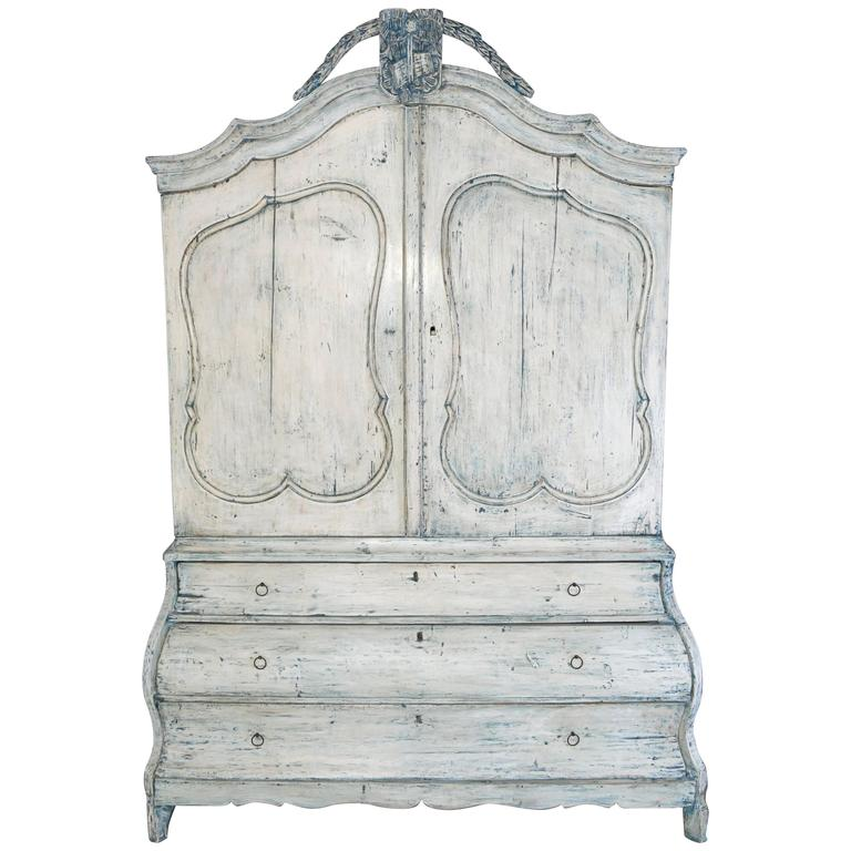 Antique Dutch Painted Country Bombe Linen Press Cabinet For Sale
